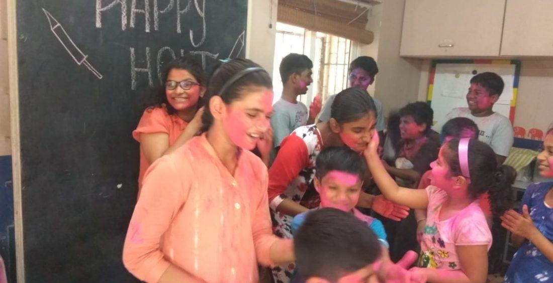 Students at UDAAN Enjoy Holi Celebrations